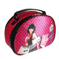 "SoHo Shopping Girl Round Top Train Case Polka Dot Hot Pink and Black by JewelryNanny. $12.50. Easy to clean. Perfect for travel and on-the-go. Color: Hot Pink. Sateen finish; Made of Polyester with Vinyl Trim. Dimensions: 10"" L x 4"" W x 7"" H. This round top train case allows your to store all your cosmetics with ease. Roomy interior. Inside you'll find 8 individual pockets with accompanying elastic bands to ensure your make up brushes are secure. Also, includes a zipper com..."
