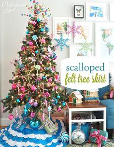 Candy colored tree  = felt Christmas tree skirt DIY--Centsational Girl
