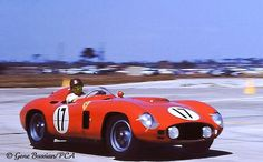 Fangio in winning Ferrari at Sebring 1956
