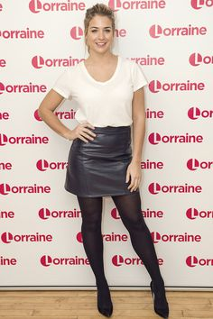 Harmless: Gemma Atkinson, is reportedly engaging in some playful text and video exchanges with former contestant Simon Rimmer, in a WhatsApp group shared by the show's broad mix of celebrity novices and ballroom professionals Black Leather Skirts, Black Tights, Gemma Atkinson Hollyoaks, Strictly Come Dancing, Haute Couture Dresses, Lovely Legs, Grey Fashion, Ladies Fashion, Winter Fashion