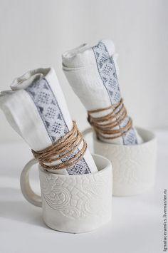 Кружки и чашки ручной работы. Ярмарка Мастеров - ручная работа. Купить чашка белая кружевная кофейная. Handmade. Белый, посуда