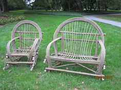 Willow furniture - my hubby & I made these awesome pieces under the instruction of Bim Willow. Willow Furniture, Willow Branches, Bent Wood, Yard Art, Rocking Chair, Furniture Making, Wicker Baskets, Home Projects, Rattan