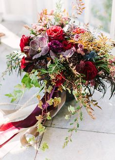 This eclectic and colorful bouquet works for any fall wedding.