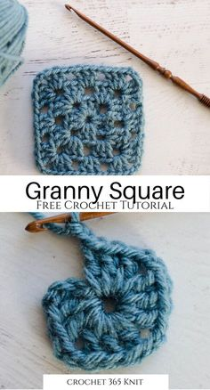 I love this free and easy granny square tutorial! Granny squares are such a basic project, and it's the perfect thing to get started! Bag Crochet, Crochet Motifs, Granny Square Crochet Pattern, Crochet Squares, Easy Crochet Patterns, Crochet Designs, Crochet Crafts, Crochet Granny Square Beginner, Blanket Crochet