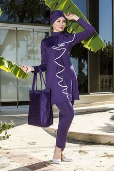 Purple Burkini Satin Pyjama Set, Satin Pajamas, Pajama Set, Islamic Swimwear, Modest Swimsuits, Elegant, Purple, Stylish, Lady