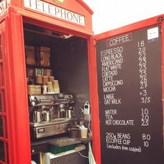 Phone box turned coffee kiosk in New Road, Brighton, Great local example of repurposing. Brighton England, Brighton And Hove, Coffee Counter, British Seaside, Everything Is Awesome, Cafe Bar, Coffee Love, Kiosk, Coffee Drinks