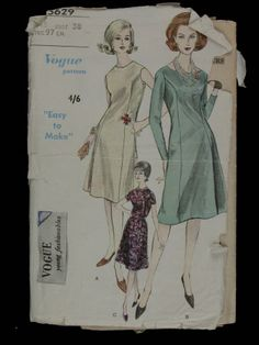 Dressmaking pattern; Vogue - No.5629 - Young Fashionables - One piece dress. Paper pattern, size 18. 1961