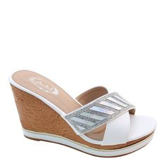 New Brieten Women's Rhinestone Cross Strappy Metal Ornament Wedge Platform Comfort Slides Sandals ** Want additional info? Click on the image.