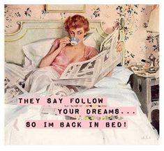 "Illustration for magazine advertisement. Pin-up gal reading in bed on soft sheets wearing her negligee. Ladies Home Journal, July By John Gannam. ""John Gannam was. Vintage Humor, Retro Humor, Vintage Ads, Vintage Images, Retro Funny, Funny Vintage, Vintage Clothing, Vintage Style, Arte Pop"