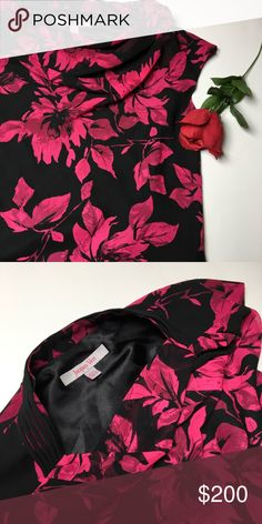Stunning Floral Silk Dress 💋 It drapes so beautifully in the front. Long full length. It has pretty straps on the shoulder area. It's stunning! The color pink in the flowers is so gorgeous. 🌺 like new. Jacques Vert Dresses