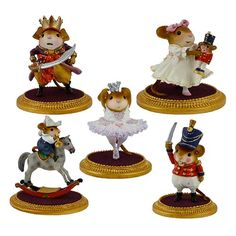 Nutcracker Set of 5 LIMITED – Sugar Plum Fairy, Clara, Fritz, Mouse King, Nutcracker – Wee Forest Folk – NC-1, NC-2, NC-3, NC-4, NC-5 | Wee Forest Folk Shop