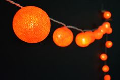 20 Lights - Orange Cotton Ball String Lights Fairy Lights Patio Lights Wedding Lights Decoration Lights