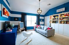 Love this bold playroom makeover from @MakelyHome Stripes were done in our Peacock Blue and Ultra White. Via MyColortopia.com