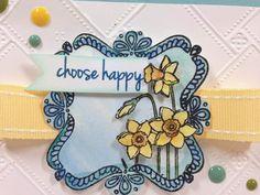 Cricut Happy Daffodil card closeup - choose happy, daffodils card