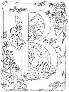 Eine Malvorlage mit einer Elfe und ihrem Einhorn im Wald