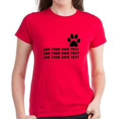 Cafepress Personalized Dog's Paw Women's Dark T-Shirt, Size: Small, Red