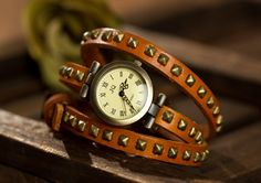 Yellow women's leather wrapped rivet watches, bracelet, OSX025 -1Y - $12.90 | odonatum - Accessories on ArtFire