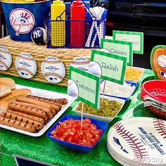 Easy-to-customize cards with baseball designs make perfect labels for condiments- and make you look like you're in the party-planning big leagues.