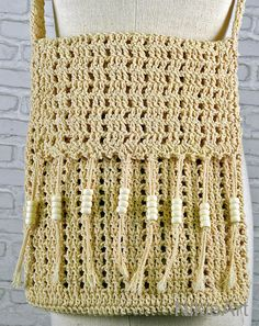 100 % cotton Crochet bag Beige crossbody bag cotton by NikieArt