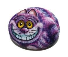 Cheshire Cat Hand Painted on a Small Stone! Painted with Acrylics and finished w… – Rock Painting Pebble Painting, Pebble Art, Stone Painting, Painting Art, Painted Rock Animals, Hand Painted Rocks, Painted Stones, Garfield Cartoon, Art Papillon