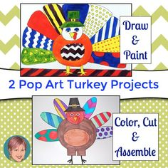 No boring Turkey hands this year... instead create these fun, easy and unique pop art turkeys!
