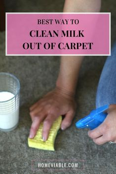 How to clean and remove milk stains out of your carpet, including tips for how to get rid of old stains, and removing the awful sour smell. #homeviable #milkstains #carpetstains #stainremoval #clean Cleaning Diy, Kitchen Cleaning, House Cleaning Tips, Diy Cleaning Products, Cleaning Solutions, Deep Cleaning, Pet Hair Removal, Diy Carpet Cleaner, Carpet Stains
