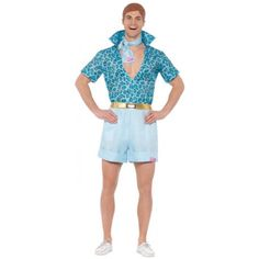 Buy Mens Barbie Safari Ken Costume, available for Next Day Delivery. Transform into every young girls dream boyfriend in our Barbie Safari Ken Costume !Our Safari Ken Costume includes this blue leopard print style shirt wit . Barbie And Ken Costume, Doll Costume, Toy Story Halloween, Halloween Costumes, Halloween Party, Baby Blue Shirt, Ken Doll, Halloween Disfraces, Mattel Barbie