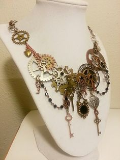 Side view custom Steampunk necklace