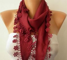 Burgundy  Scarf   Pashmina  Scarf  Headband Necklace by fatwoman, $13.50