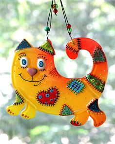Handmade HAPPY CAT glass fusing techniques gift lovers by ICMCM