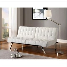 Ameriwood DHP Emily Faux Leather Convertible Futon in Vanilla - transitional - sofa beds - by cymax
