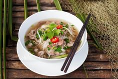 Recipe of Pho - Traditional Vietnamese cuisine and a delicious Vietnam Vietnamese Pho, Vietnamese Cuisine, Vietnamese Restaurants, Beef Noodle Soup, Beef And Noodles, Rice Noodles, Chicken Pho, Slow Cooker Chicken, Pho Bo