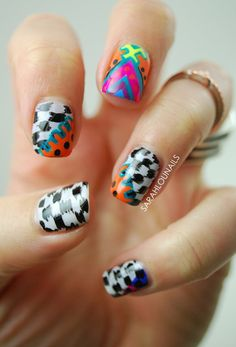 Black and white abstract nail art with added colorful patterns. The colors on top are artistically placed on the black and white design and it helps make the nails look more interesting and unique. Colored Acrylic Nails, Acrylic Nail Art, Gel Nail Art, Easy Nail Art, Nail Art Designs 2016, Simple Nail Art Designs, Gel Nail Designs, New Nail Polish, Nail Polish Trends