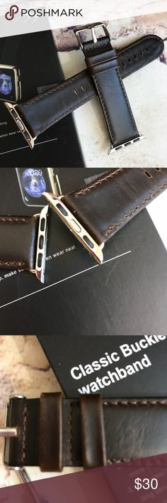 GENUINE Brown Leather Apple Watchband 38mm Will fit all 38mm Apple watches.  Thank see one day. Accessories Watches