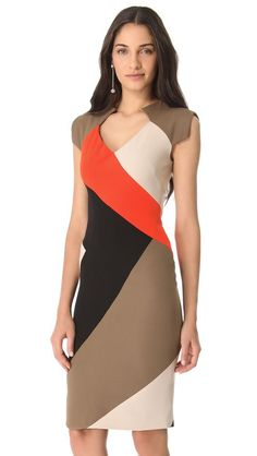 Lela Rose Colorblock V Neck Dress: