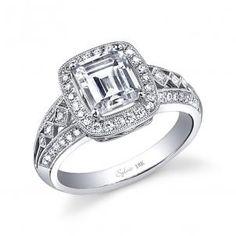 0.44tw Engagement Ring W. 2ct Emerald-cut Head 14kw from Davisjewelers.com