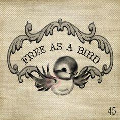Free as a bird Vintage Bluebird LARGE Digital Image by ptfy, $2.00
