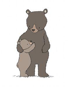 Woodland Nursery Art -- Bear Hugs -- Mama and Baby Bear -- Bear Woodland Art -- Children Art --  Kids Wall Art