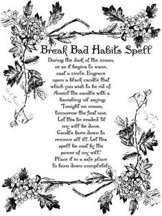 Break a bad habit spell (Hmmm smoking then...)