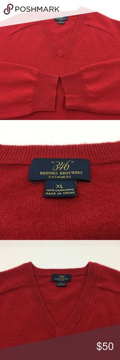 """Brooks Brothers Mens Cashmere Sweater XL 346 Brooks Brothers Mens Cashmere Sweater XL 346 Long Sleeve Vneck Red 100% Cashmere 100% Cashmere 346 Line Shoulder to shoulder - 20"""" Armpit to armpit - 25"""" Length - 30"""" Sleeve length - 34"""" Don't forget to take a look at the other items in my store. All item rating conditions are done in honest good faith. Brooks Brothers Sweaters V-Neck"""
