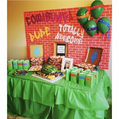 I had so much fun styling this Teenage Mutant Ninja Turtle today! Turtle Birthday Parties, Happy 4th Birthday, Ninja Turtle Birthday, Ninja Turtle Party, Ninja Turtles, Birthday Ideas, Ninja Turtle Decorations, Ninja Party, Mutant Ninja