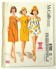 086116a93a Vintage 1960s Womens Size 14 Beach Dress Cover-Up in Two Lengths and Shorts  McCall s Sewing Pattern 6782   bust 34 waist 26   Complete