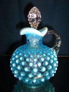 Fenton Glass Blue Opalescent Hobnail Large Round Cruet 3863 BO $89 by ronda