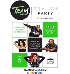 UK TeamMates... We are having our first ever live event to celebrate our 2nd BIRTHDAY on Thursday & the re-design of our website: #TeamCurtains.com  Live Music Comedy Games Networking GiveAways Cake  Fun