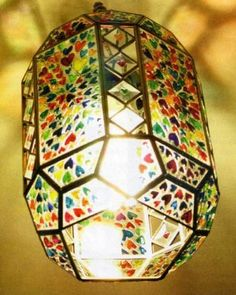 Lantern  | Hand painted stained glass. Colorful rainbow.