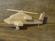 Handmade Wood Toy Apache Helicopter Wooden Toys by OutOnALimbADK, $18.00