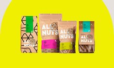 Strong Identity & Modern Packaging All Nuts. All Nuts has a varied product line with several packaging proposals. The idea was to bring to the daily life of people who wants to take care of themselves, a modern packaging, that delights them and also has a unique strong identity from the three pillars of the brand: Healthy, Natural and Brazilian. | HeyDesign.com