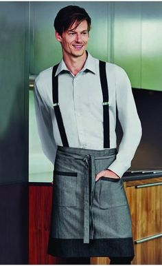 Grey Denim Short Apron with Pockets