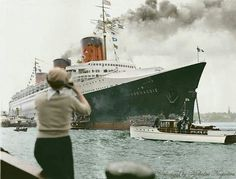 Normandie (French Line) arriving at New York June 3, 1935 after Blue Riband record breaking crossing from Le Havre