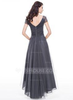 Forme Princesse Col V Traîne asymétrique Tulle Robe de soirée avec Plissé Emperler Sequins (017056519) - JJsHouse